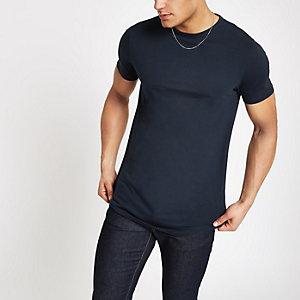 T-shirt long bleu marine à ourlet arrondi