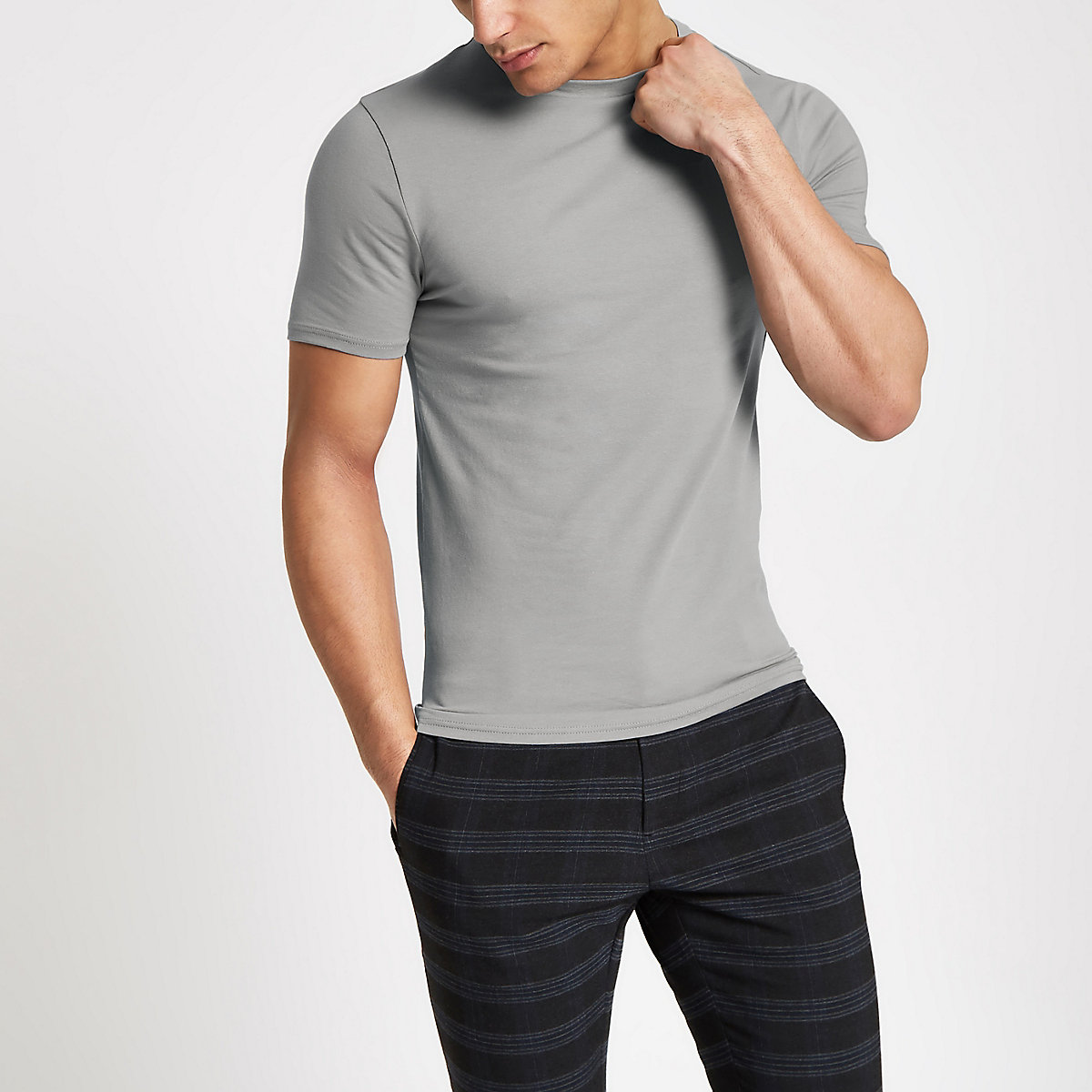 Grey muscle fit short sleeve T-shirt