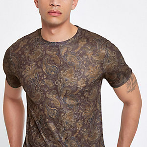 T-shirt slim motif cachemire marron