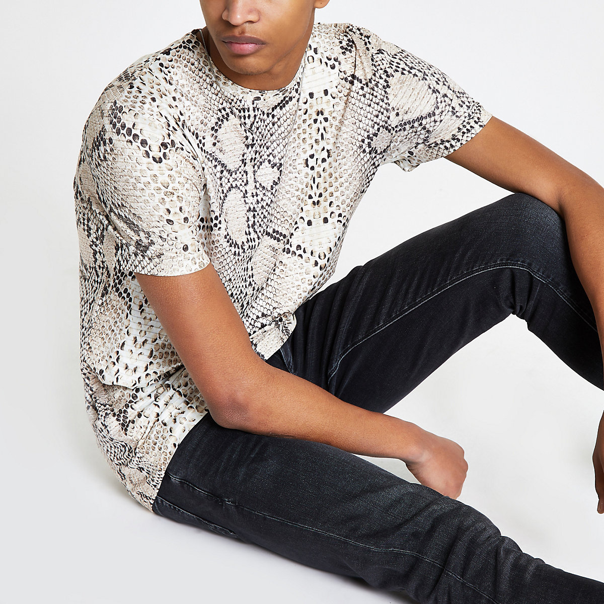 Stone snake print slim fit T-shirt