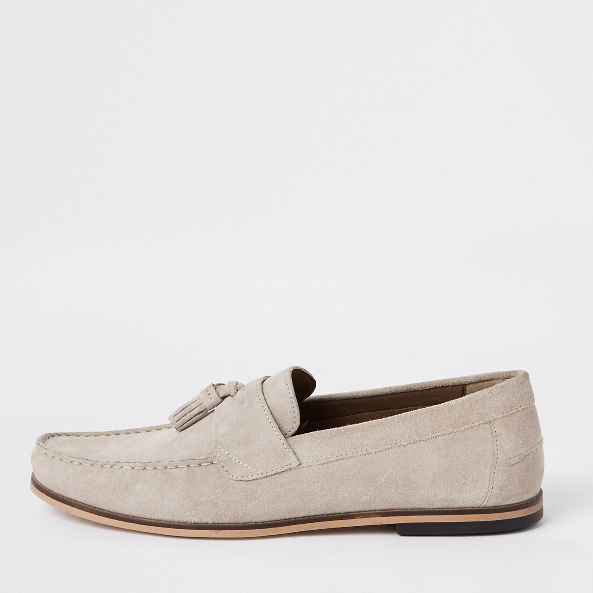 Stone suede tassel loafers
