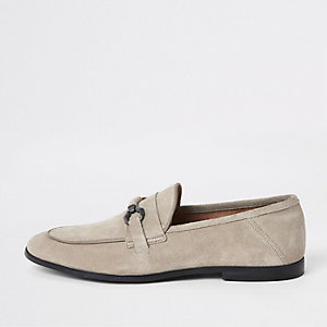 Light grey suede snaffle loafers