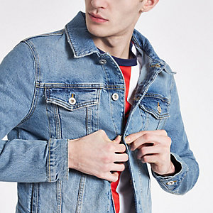 Blauwe wash denim jack