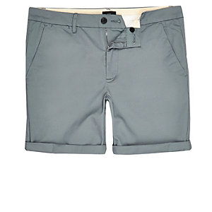 Big and Tall blue skinny fit chino shorts