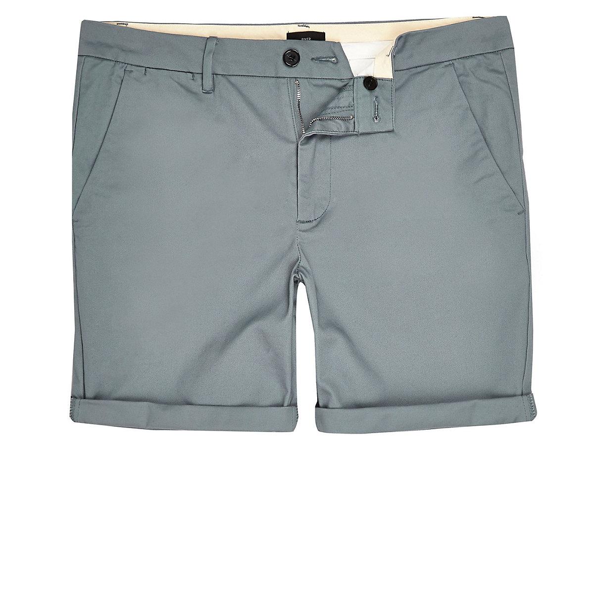 Big & Tall – Blaue Skinny Fit Chino-Shorts