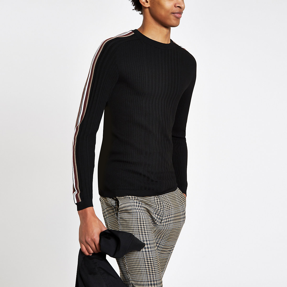 Black ribbed crew neck muscle fit jumper