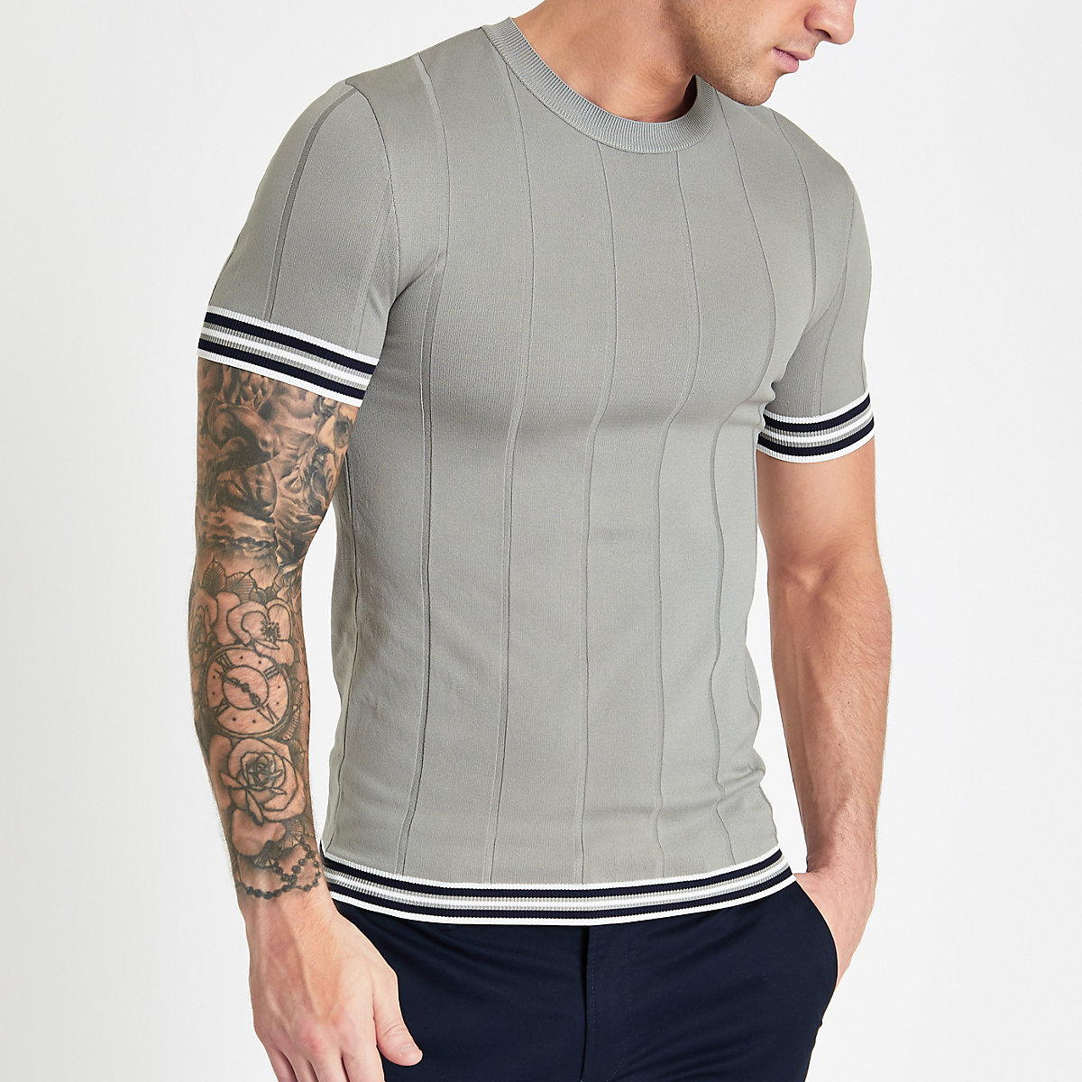 Grey tipped muscle fit T-shirt