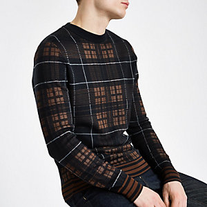 Marineblauwe geruite slim-fit trui met lange mouwen