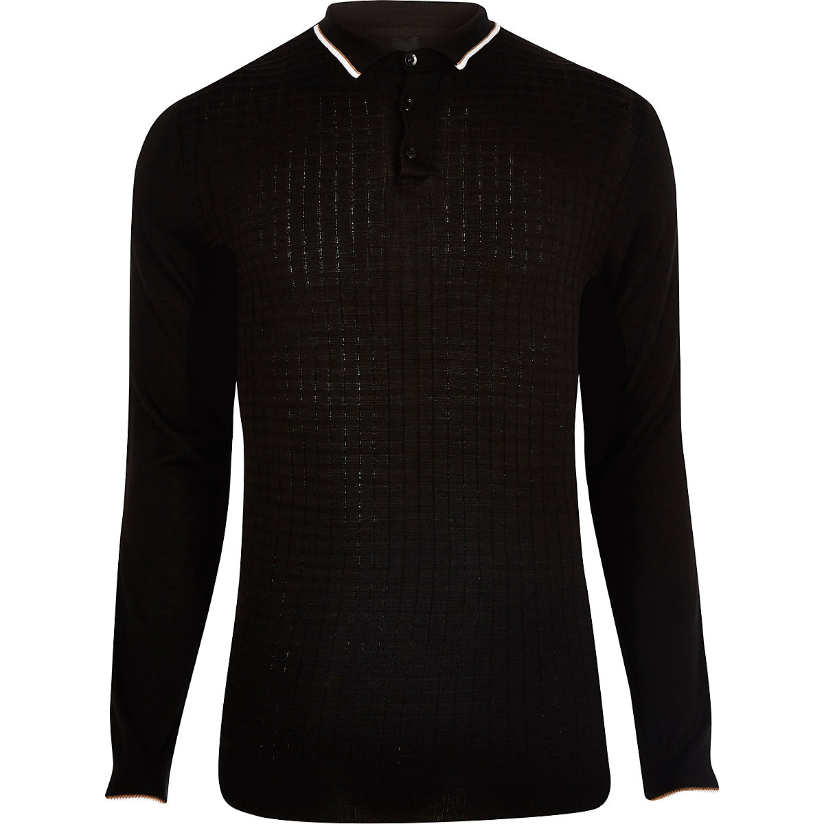 Black slim fit grid textured polo shirt