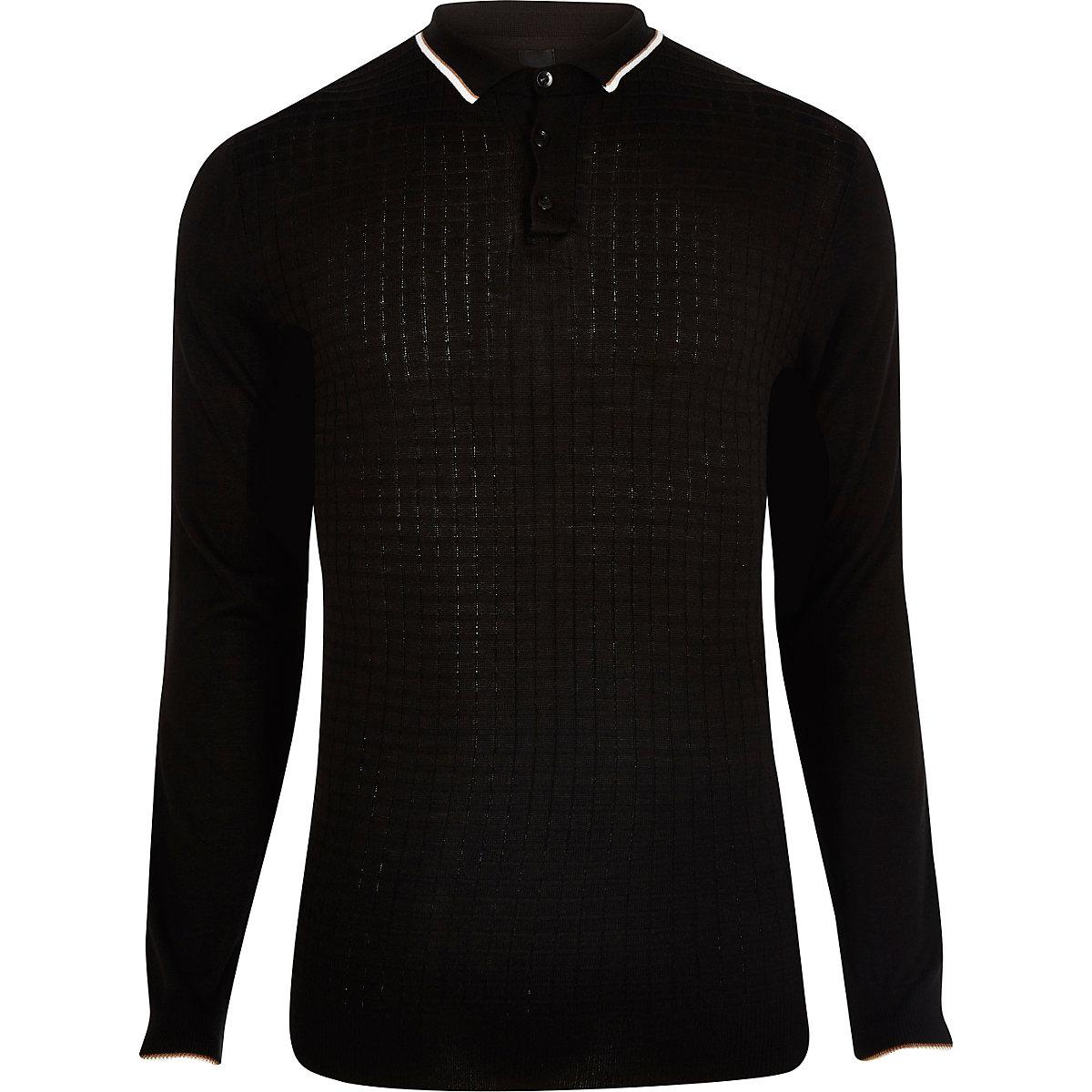 Schwarzes Slim Fit Poloshirt mit Struktur