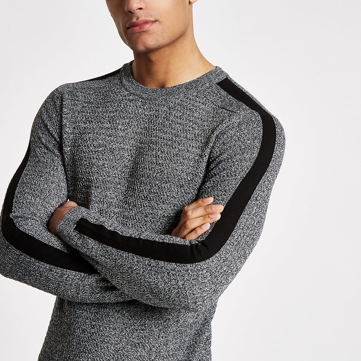 Grey muscle fit cable knit top