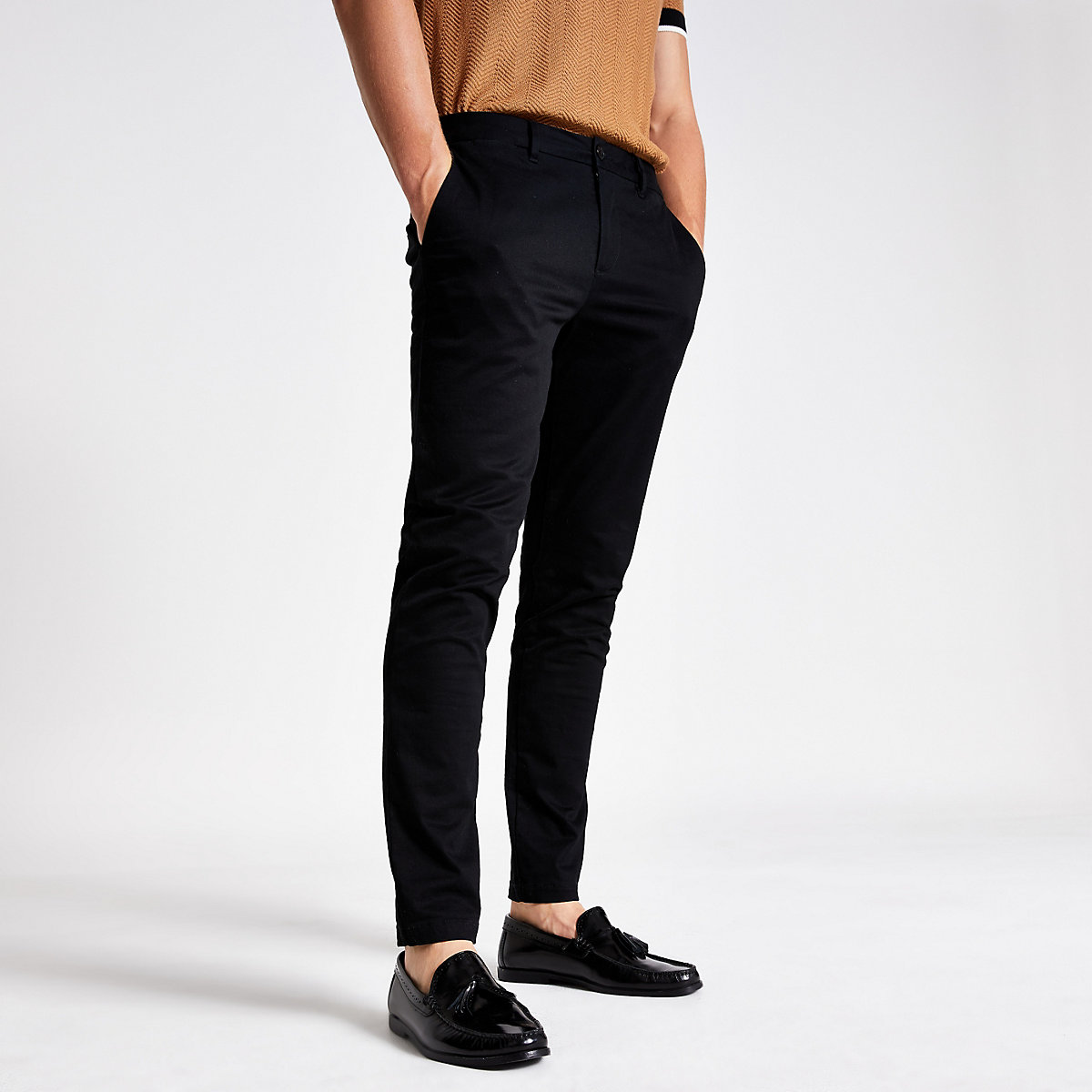 Black skinny fit chino pants