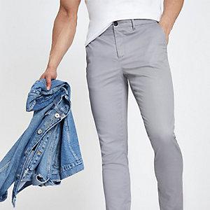 Grey skinny fit chino pants