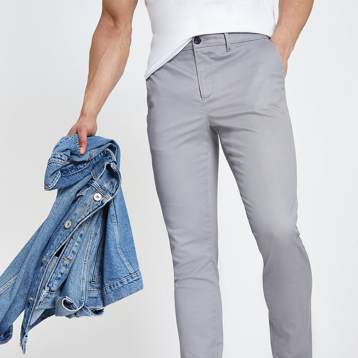 Grey skinny fit chino trousers