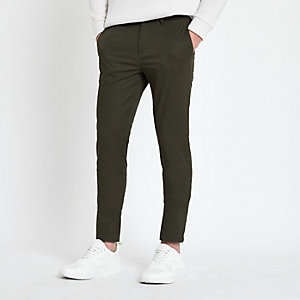 Grüne Skinny Fit Chino-Hose