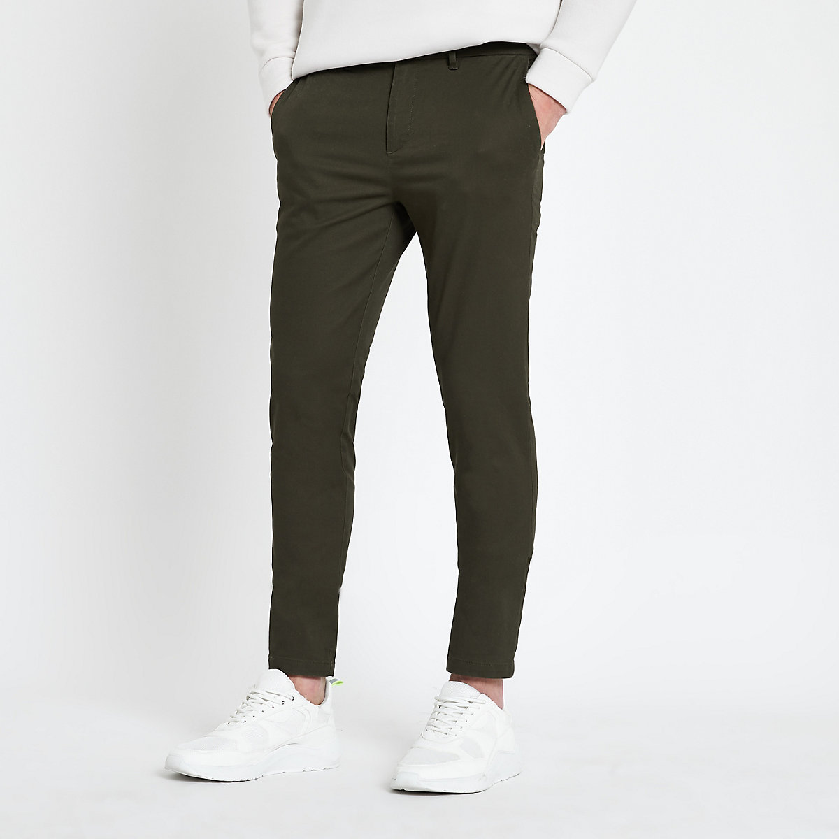Green skinny fit chino pants