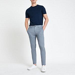 Blaue Skinny Fit Chino-Hose