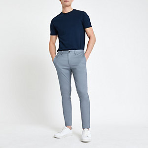 Blue skinny fit chino pants