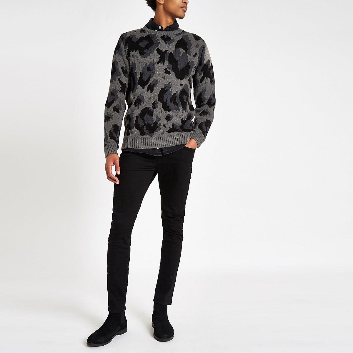 Grey leopard print slim fit jumper
