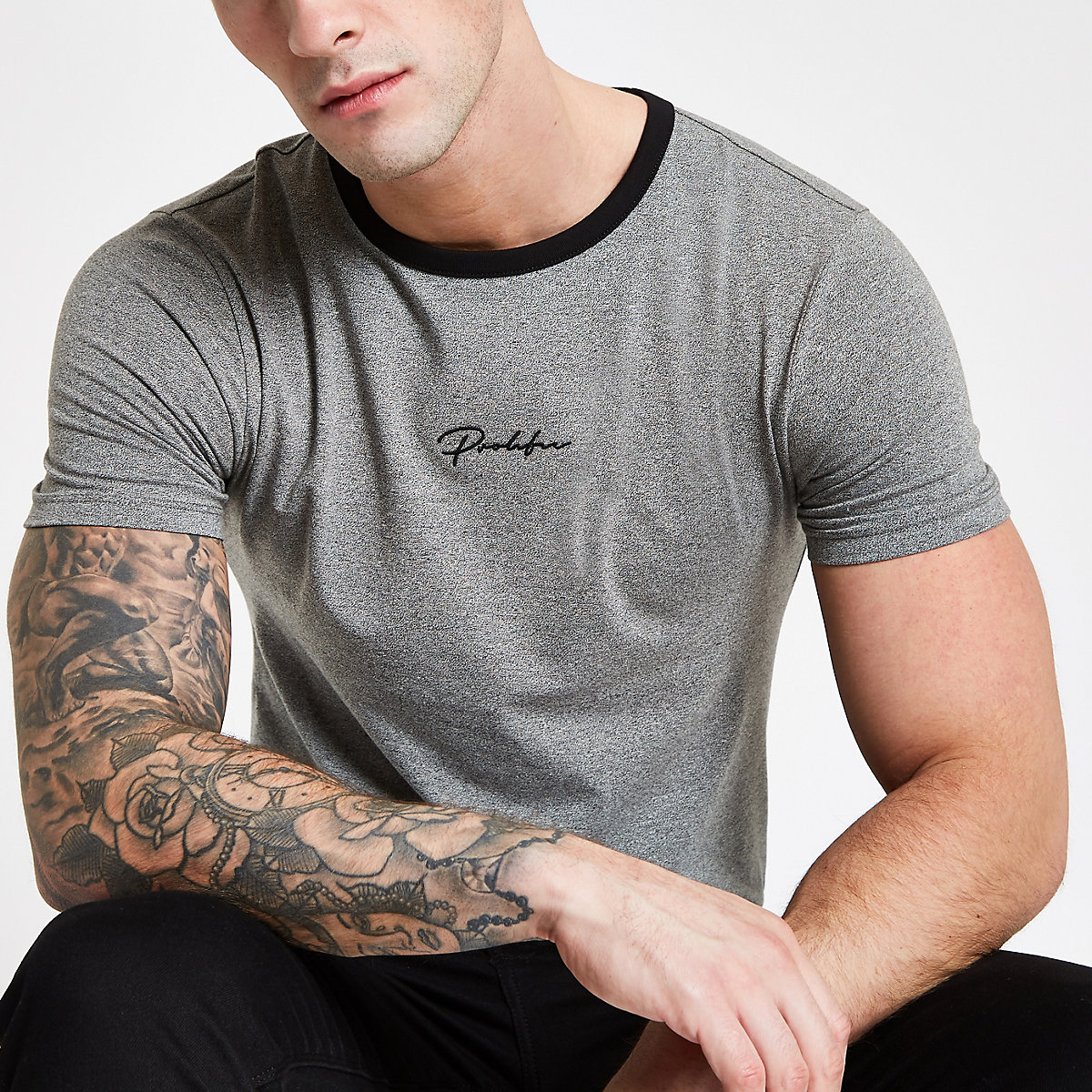 "Graues Muscle Fit T-Shirt ""Prolific"""