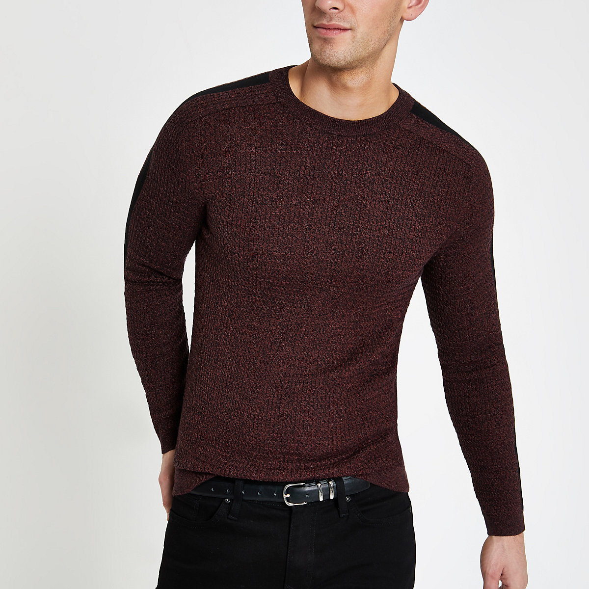 Dark red muscle fit cable knit jumper