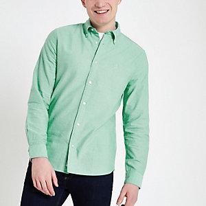Mintgrünes, langärmeliges Oxford-Hemd