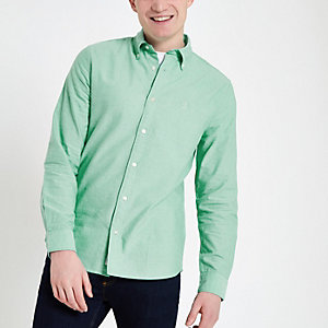 Chemise oxford manches longues vert menthe