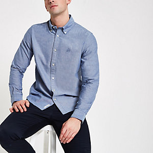 Chemise Oxford manches longues bleu marine