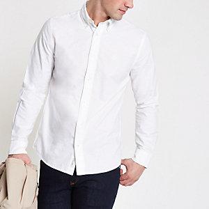 Weißes langärmeliges Oxford-Hemd