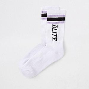White 'Elite' tipped tube socks