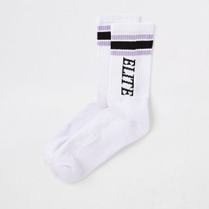 Chaussettes tube « Elite » blanches passepoilées