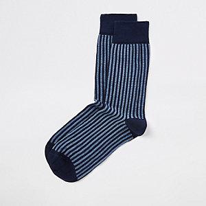 Chaussettes côtelées bleu marine à motif géométrique