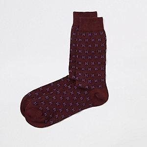 Bordeauxrode sokken met geoprint