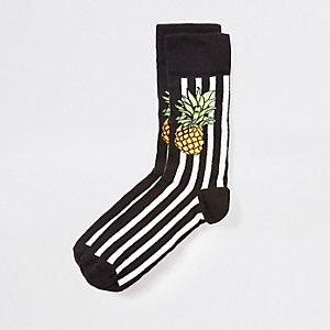 Chaussettes imprimé ananas et rayures noires