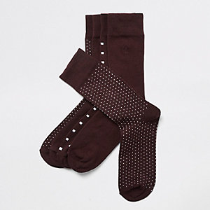 Burgundy spot print socks multipack