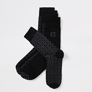 Grey RI monogram tube socks
