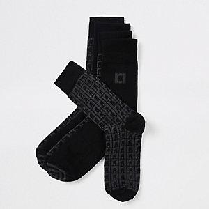 Chaussettes tube à monogramme RI grises