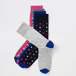 5 paar marineblauwe sokken met strepen en stippen