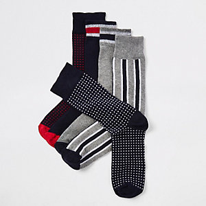 Navy mixed print socks 5 pack