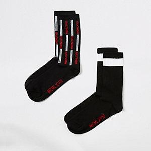Black 'MCMLXVIII' print socks 2 pack