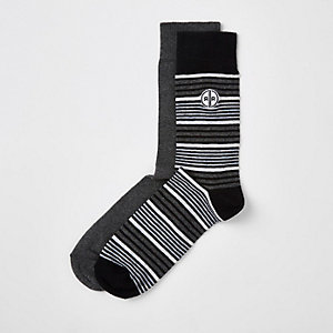 Grey stripe socks multipack