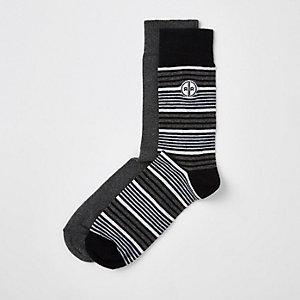 Lot de 2 paires de chaussettes rayées grises