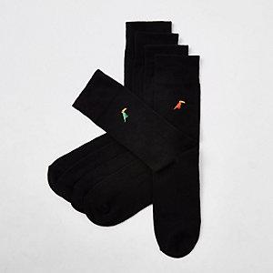 5 paar zwarte sokken met geborduurde toekan