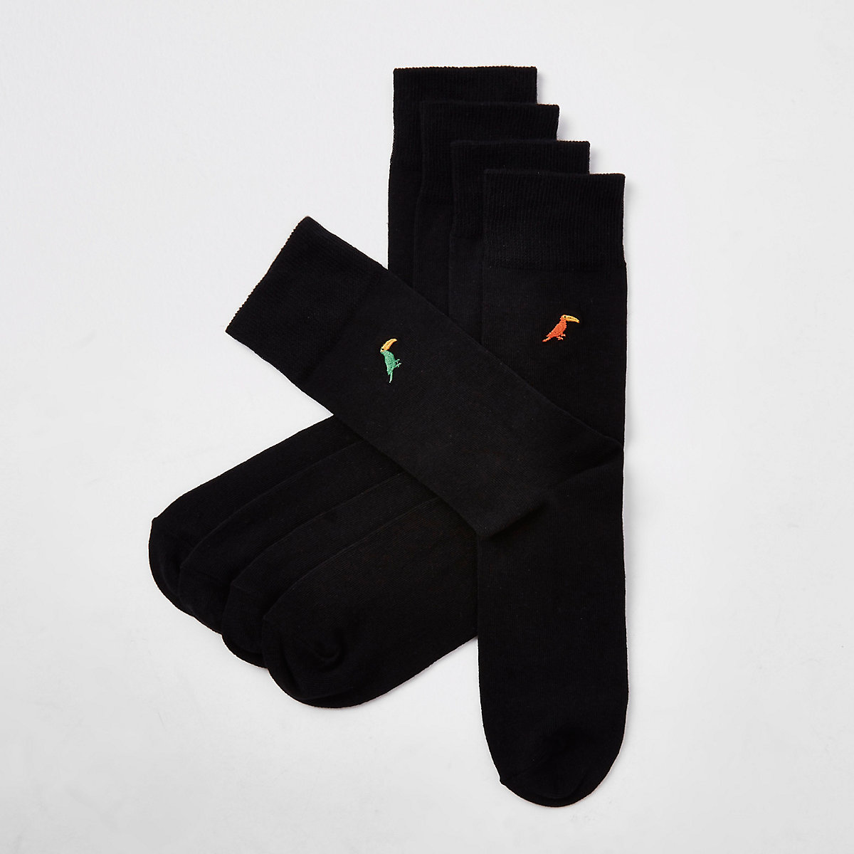 Black toucan embroidered socks 5 pack