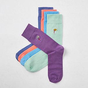 Lot de 5 paires de chaussettes motif fruits vert pastel