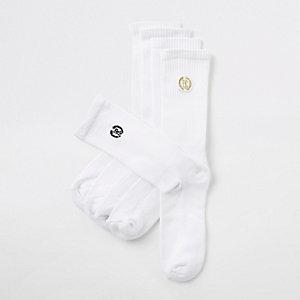 Lot de paires de chaussettes tube blanches avec écusson RI