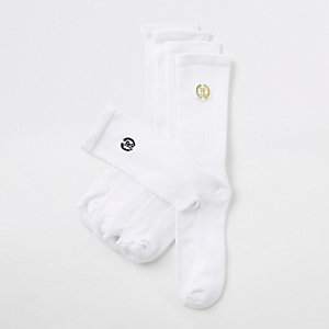 Multipack witte sokken met RI-logo