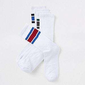 5 paar witte sokken met contrasterend randje
