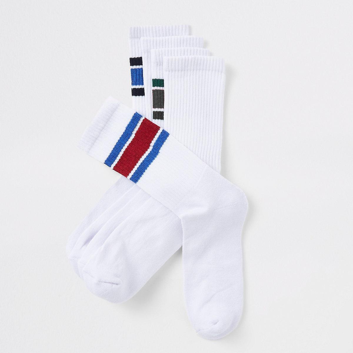 White tipped tube socks 5 pack