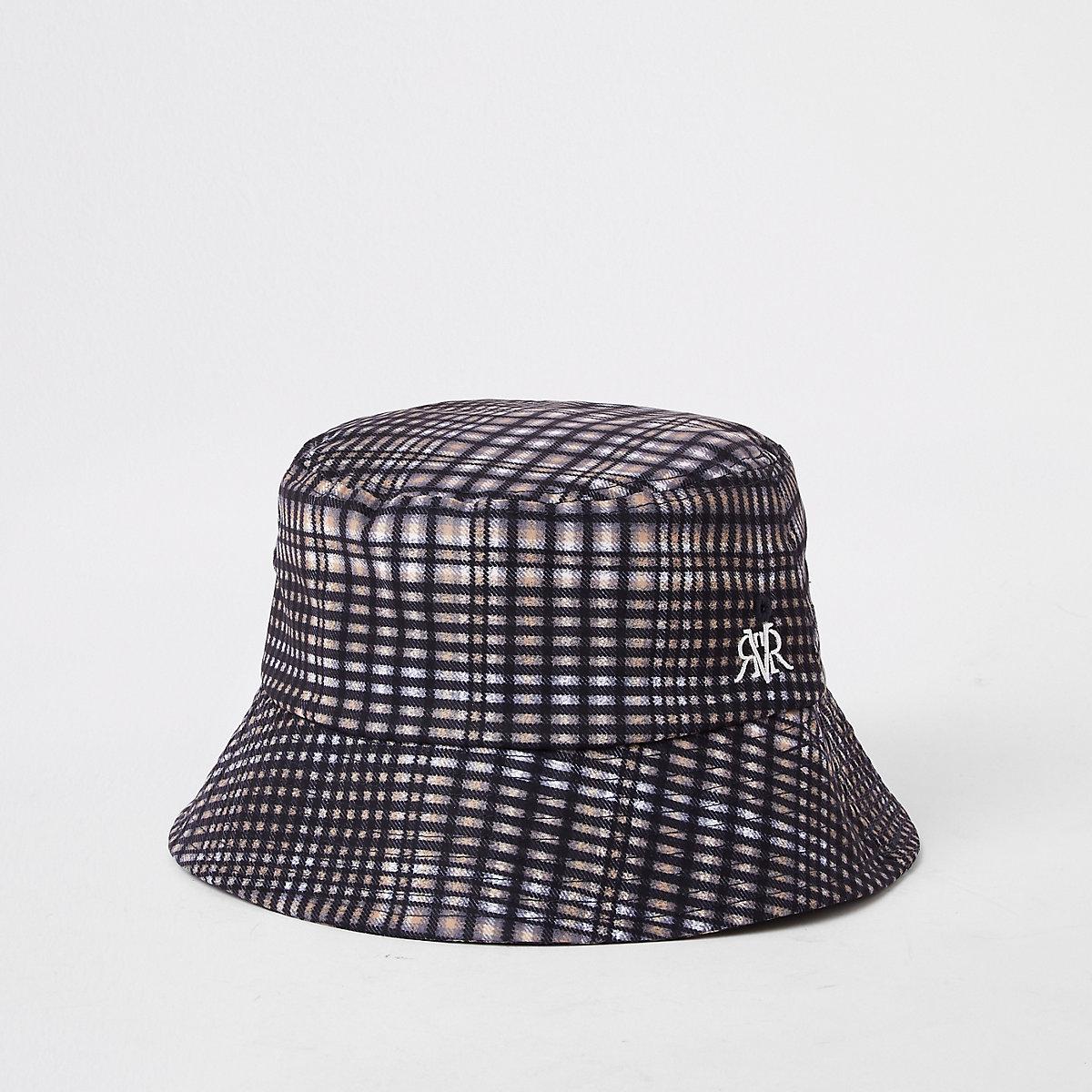 Grey check bucket hat